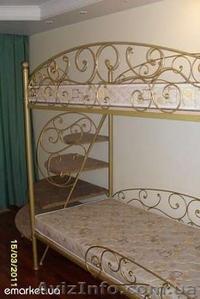 Двухярусная кованая кровать авторской ручной работы - Изображение #2, Объявление #367105